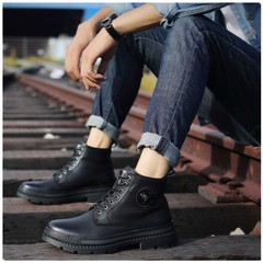 2019 Explosion Promotion Limit Discounts Martin boots men's high-top leather shoes black 38