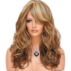 Multi-colour synthetic wigs long curly hair wig women fashion wig picture color long