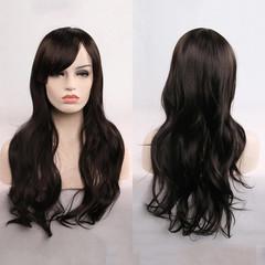 70 cm long curly wig hair Africa popular wig high temperature silk wig black long