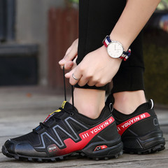 Large size quality outdoor men's hiking shoes breathable running mesh sports tourist shoes black 39