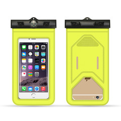 Quality assurance arm-belt compass mobile phone waterproof bag touch screen mobile phone case yellow normal