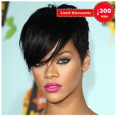 Limit promotion lady high temperature silk synthetic short straight hair oblique bangs wig black short