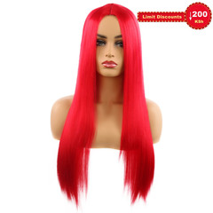 6 Colors Long Hair Wig Female's Wigs Synthetic Wigs Women's Wigs red long