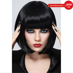 Crazy Price Quality Fashion Ladies Black Short Wig Straight Hair Bob Haircut Hair Wig picture color short