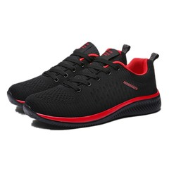 Crazy Purchases Mesh Men Casual  Lac-up Shoes Lightweight Comfortable Breathable Walking Sneakers black+red 39