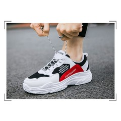 Crazy Price Quality Casual Sneaker Rubber Sole Cheap Shoes Men Sports Shoes black+red 39