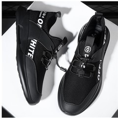 Amazing quality limit price 1 day promotion sports men shoes flat casual mesh sneakers black+white 40