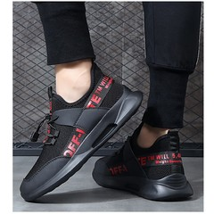 Amazing quality limit price 1 day promotion sports men shoes flat casual mesh sneakers black+red 39
