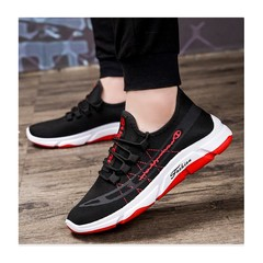 Promotion 3 days quality hot fashion sneakers handsome sportswear casual sports shoes black+red 39