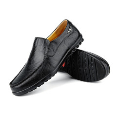 Amazing Price Men's Fashion Leather Loafers Slip-Ons Casual Driving Shoes Comfortable Lazy Shoes black 38