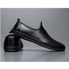 New 2019 men fashion leather overshoes comfortable leisure soft leather business dress shoes black 38 leather
