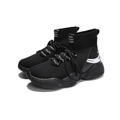 Limit Lower Price Fashion Mens Shoes High Upper Students Leisure Sports Flying Weaving Shoes black 39
