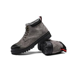 Limit price African popular retro leisure British style men's shoes high upper Martin boots grey 44