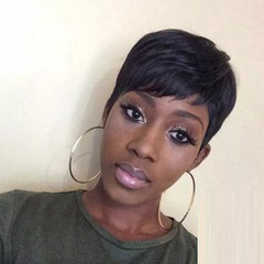 Crazy lower price Africa fashion lady synthetic short straight hair oblique bangs wigs black short