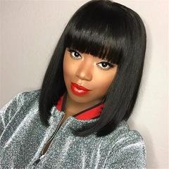 Flash Sale Limit Lower Price African Fashion Medium-length Bangs Straight Hairs Wigs black long
