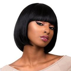 Flash lower price 3 hours ladies short straight hair wigs straight bangs wig black short