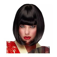 Crazy Price Fashion Women Wig with Short Straight Hair with Bobbed Bangs black normal