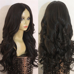 Amazing  flash price 3 hours Afrcian fashion synthetic wigs long curls big waves centre parting wig black long