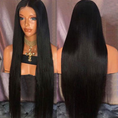 Crazy promotion fashion super long straight-hair black wigs ladies wig as picture long