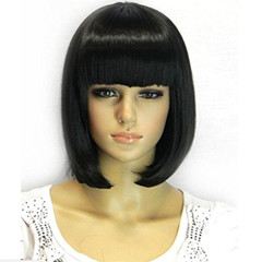 Flash lower price fashion short handsome bobo head hair wigs straight wig black long