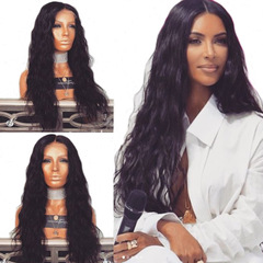European and American Popular Ladies Synthetic Wig Long Curly Fluffy Black Wigs black long