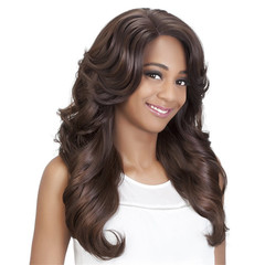 Promotion in 2019 Fashion Wig headgear Slant Bangs Big Wave Curl Wigs as picture long