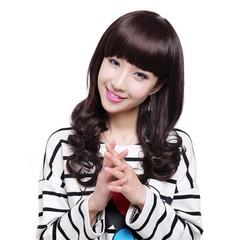 Hot-selling fashion lady's wig slanting bangs long curly hair wig black long