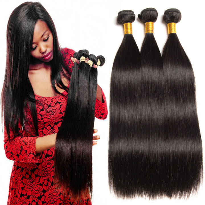 Price for one piece Simulated hair curtain straight hair weaves black 16 inches