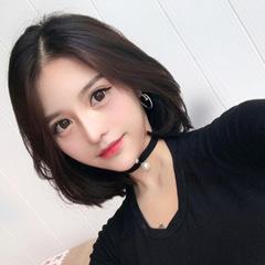 2019 Fashion Short Straight Bobo Hair Cosplay Middle Bang Student Wig black normal