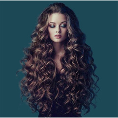 High-end new fashion long wavy curly wigs women's natural wig as picture long
