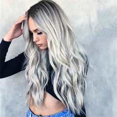 New fashion black-grey bleaching dyeing wigs long curly medium parting curly hair as picture long