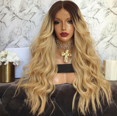 European and American fashion dyed wigs synthetic yellow long curly wig as picture long