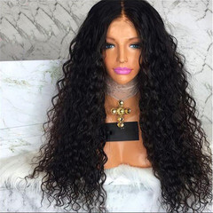 African black parting centre Bangs long small curly fluffy wig perm roll wigs as picture long
