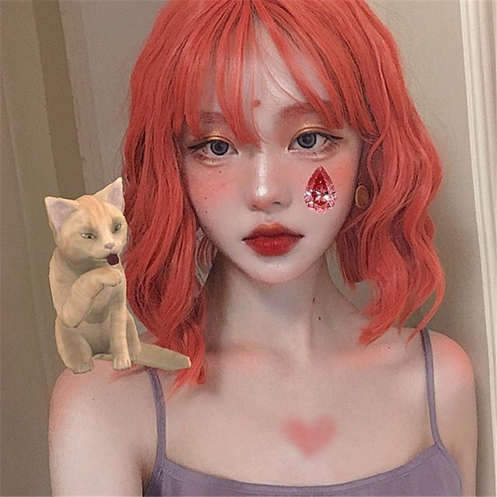 Female Short Curly Hair Orange Dyed Chemical Fiber Head Cover Wig as picture normal