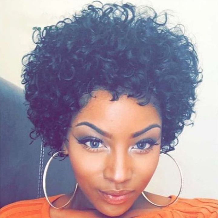 Crazy Buy Africa Fashion Wigs Ladies Short Curly Hair Wig as picture short