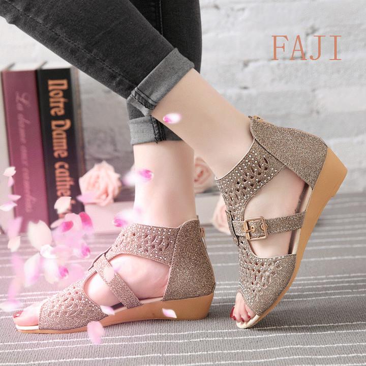New wedge with Roman shoes female low heel rhinestone slip ladies sandals Gold 41