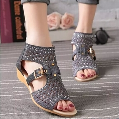 New wedge with Roman shoes female low heel rhinestone slip ladies sandals black 36