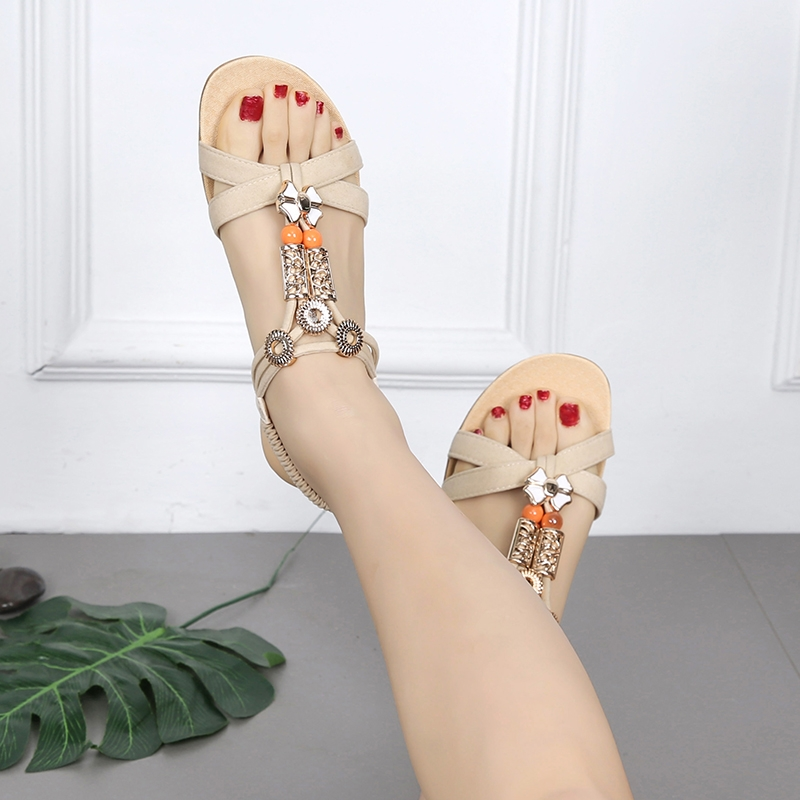 b0fc37a5eb1 New women s sandals beaded elastic with small slope and open toe ...