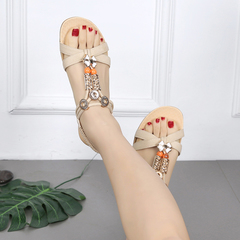 New women's sandals beaded elastic with small slope and open toe Roman wind shoes beige 40
