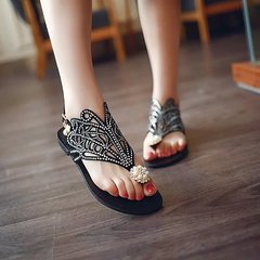 New rhinestone peacock sandals women's toe flat-bottomed pearl wild women's shoes black 35