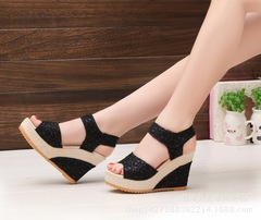 Spring and summer new mesh gold black fish mouth shoes wedge sandals women's sandals black 40