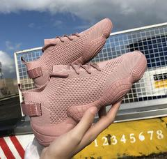 Super fire stretch socks shoes female ulzzang fly woven sneakers women pink black Pink 39