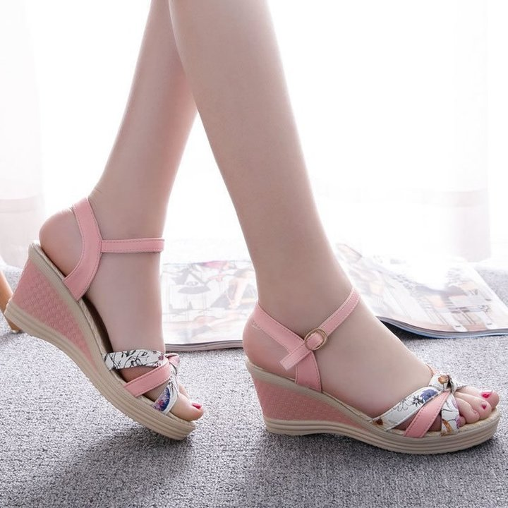 new fish mouth sandals female student slope with wild open toe sandals with a buckle pink 41