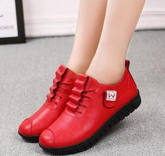 New women's small shoes comfortable flat casual shoes with soft bottom red 36
