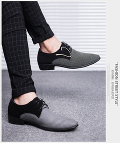 New men's leather shoes, large size pointed men's shoes, business dress, casual, breathable White 38