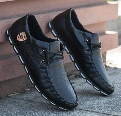 New summer tide shoes social guy casual men's shoes wild trend small shoes England black 39