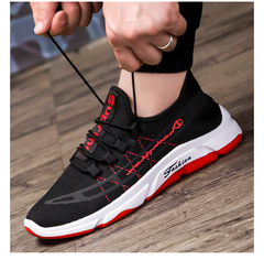 Men's round head men's sports style single shoes front with low heel casual men's shoes Red 39
