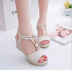 2019 fashion open toe fish mouth sandals Beaded wedge women's shoes, red, black, beige beige 35