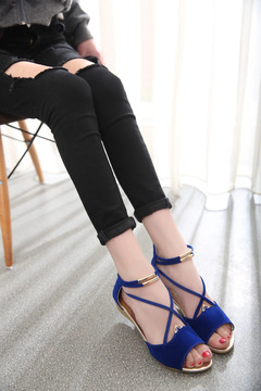 Summer fashion sandals female low heel fish mouth shoes zipper flat bottom driving student shoes black 35