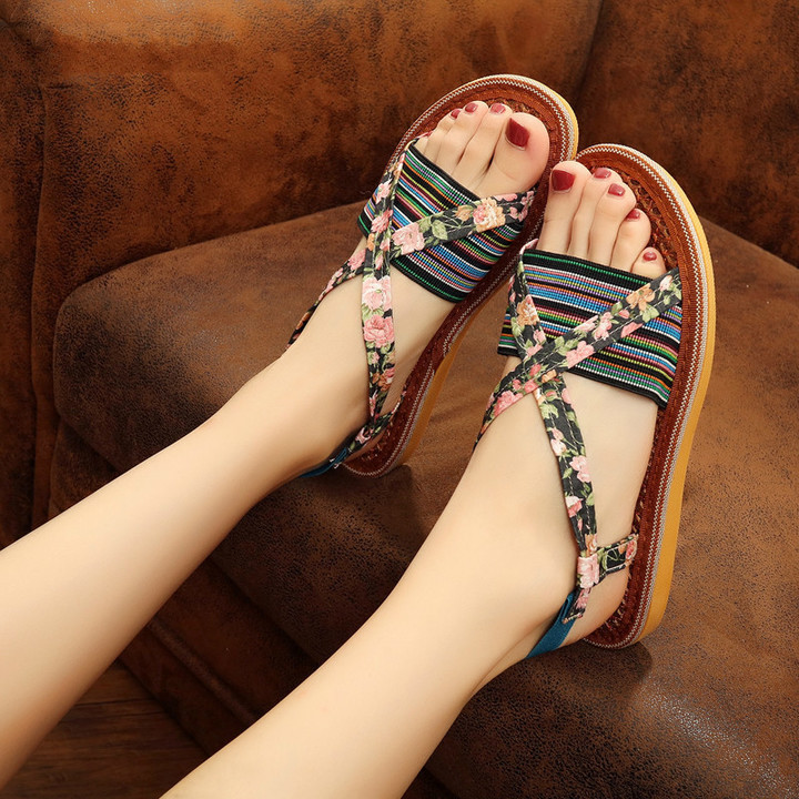 2019 new natural brown silk shoes breathable sweat-absorbent casual women's sandals purple 39